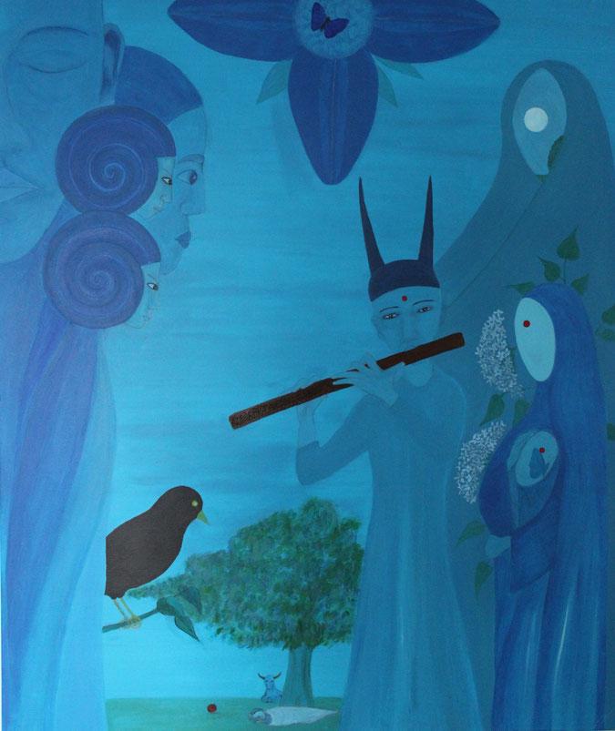 Gemälde in Acryl, Der blaue Nektar