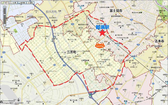 三芳町鶴瀬店送迎範囲図