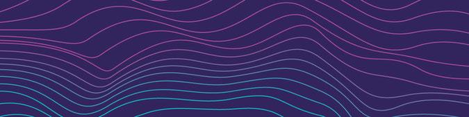 Auf dunkelviolettem Hintergrund bilden geschwungene Linien eine Landschaft. Die petrol- und hellvioletten Linien verlaufen parallel zueinander.