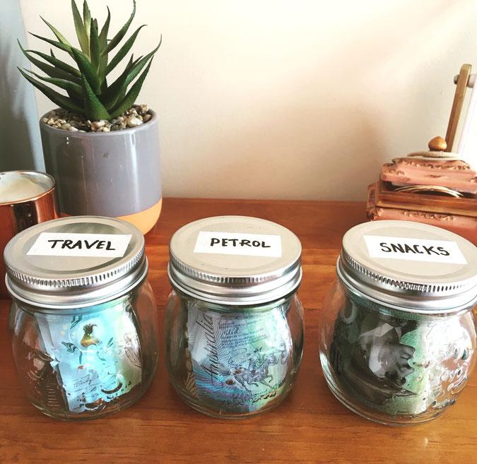 cash jars, save money, cash file system,