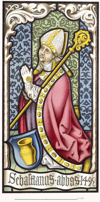 Glasgemälde mit dem Bildnis und dem Wappen des Sebastian Häfele.