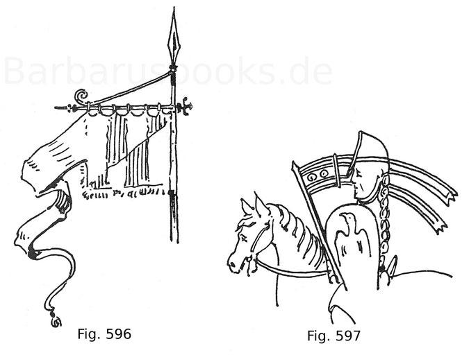 Fig. 596. Lehenfahne mit angefügtem Wimpel. 13. Jahrhundert. Fig. 597. Herzog Leopold der Tugendhafte (1157—1194) mit der Lehenfahne auf einem Siegel im Archiv des Stiftes Heiligenkreuz. Nach Sava.