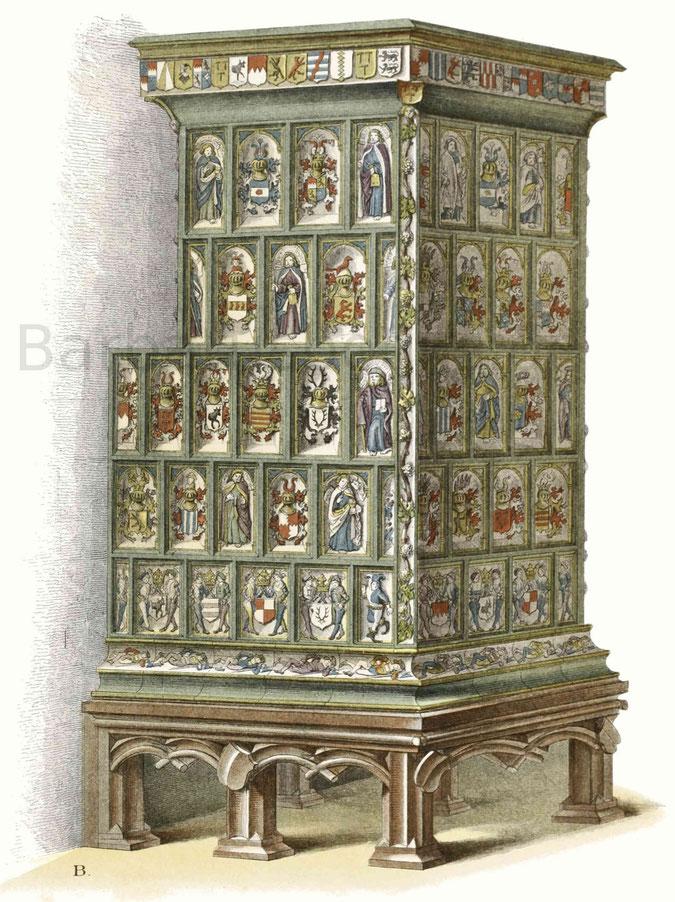 Kachelofen aus der zweiten Hälfte des 15. Jahrhunderts.