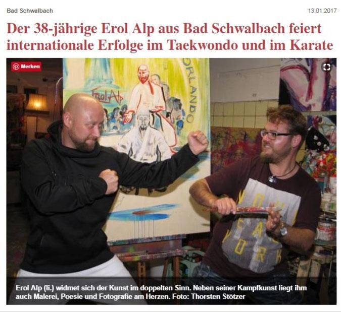 Journalist Thorsten Stötzer interviewt Erol Alp. Porträt über Erol Alp in der Rhein Main Presse mit Bernd Knibernig
