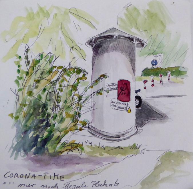 Freiburger Corona-Impression /Zeichnung:  Annette Burrer