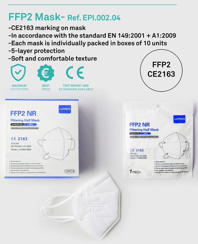 Zertifizierte FFP2 Masken CE 2163