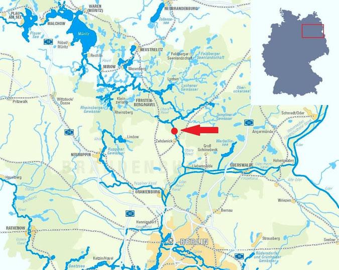 """Ausschnitt Hausboot-Revier Brandenburg und Mecklenburg-Vorpommern mit Kennzeichnung """"Die Bootschaft"""""""