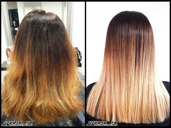 Coloration Haarfarbe  blonde blond cappuccino balayage coloration vorher nachher