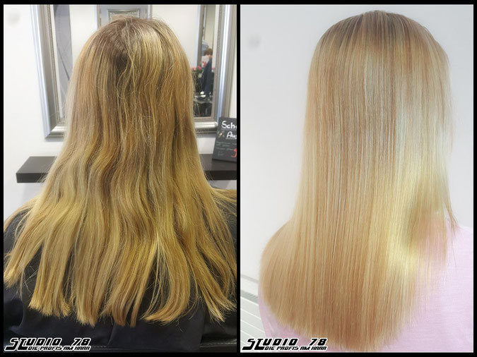 Coloration Haarfarbe  blonde blond coloration vorher nachher