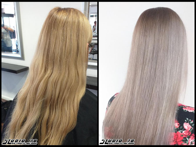 Coloration Haarfarbe nudeblonde  blonde blond coloration vorher nachher