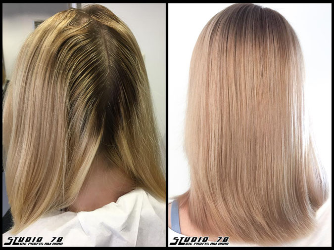 Coloration Haarfarbe sandblonde  nudeblonde blonde bright-blonde hellblond blond sandblond coloration vorher nachher