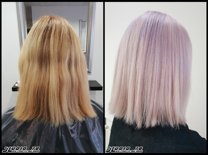 Coloration Haarfarbe pastel-violet-blonde pastell-coloration coloration vorher nachher
