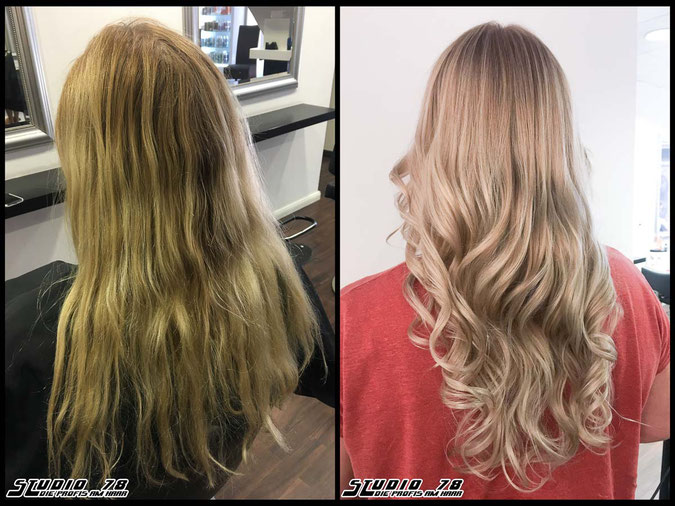Coloration Haarfarbe  nudeblonde blonde bright-blonde hellblond blond coloration vorher nachher
