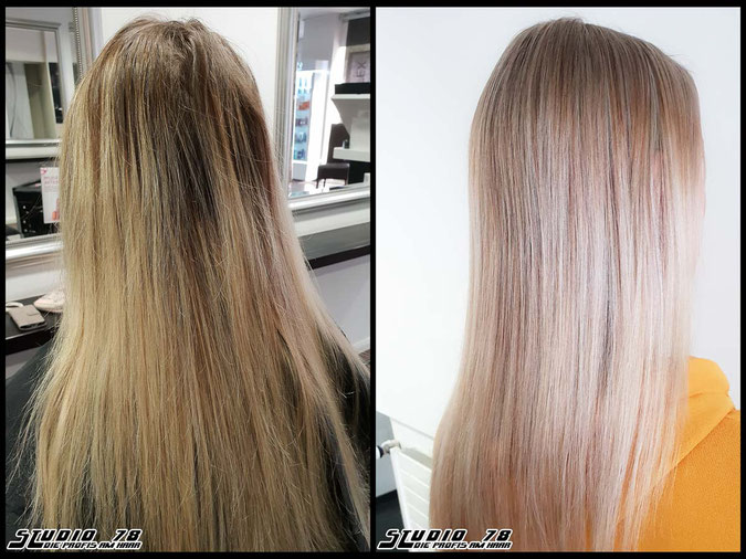 Coloration Haarfarbe nudeblonde blonde bright-white-blonde hellblond blond coloration vorher nachher