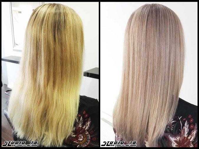 Coloration Haarfarbe nude-ashblonde  ash blonde aschblond blond coloration vorher nachher