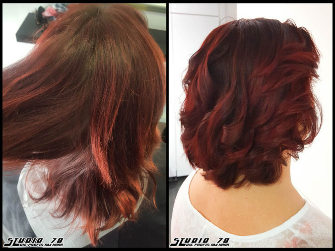 Coloration Haarfarbe rot red flame haircolor coloration vorher nachher