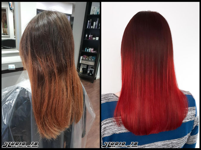 Coloration Haarfarbe rot red flame balayage haircolor coloration vorher nachher