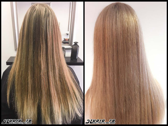 Coloration Haarfarbe blonde  rosé blonde roséblond blond coloration vorher nachher