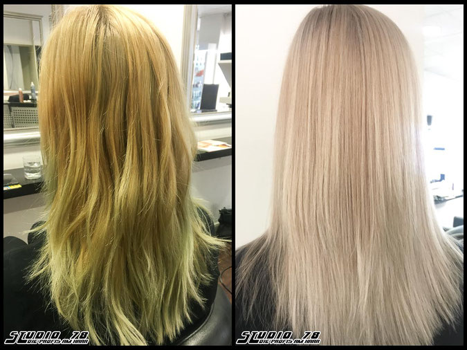 Coloration Haarfarbe nudeblonde haircolor-correction blonde blond coloration vorher nachher