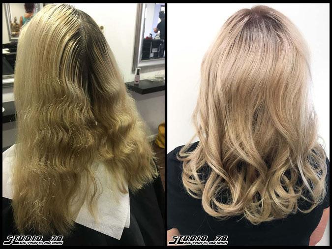 Coloration Haarfarbe chardonnayblonde  nudeblonde blonde bright-blonde hellblond blond chardonnay-blond coloration vorher nachher