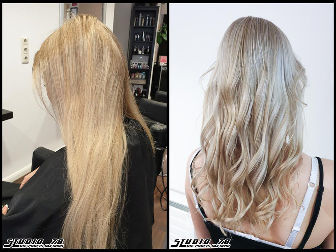 Coloration Haarfarbe  nudeblonde blonde bright-blonde hellblond blond highlights coloration vorher nachher