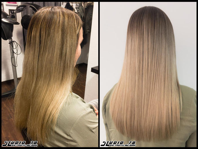 Coloration Haarfarbe nudeblonde  blonde sand sandblond blond coloration vorher nachher