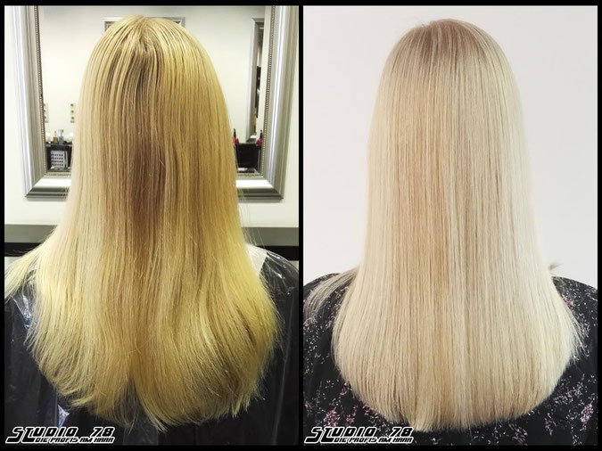 Coloration Haarfarbe whiteblonde  nudeblonde blonde white weissblond blond coloration vorher nachher