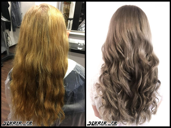 Coloration Haarfarbe frosted-latte-blonde frosted-latte ashblonde greyblonde bronde blonde blond coloration vorher nachher