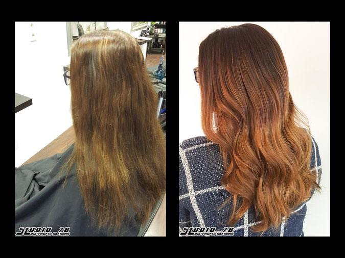 Coloration Haarfarbe balayage coloration vorher nachher