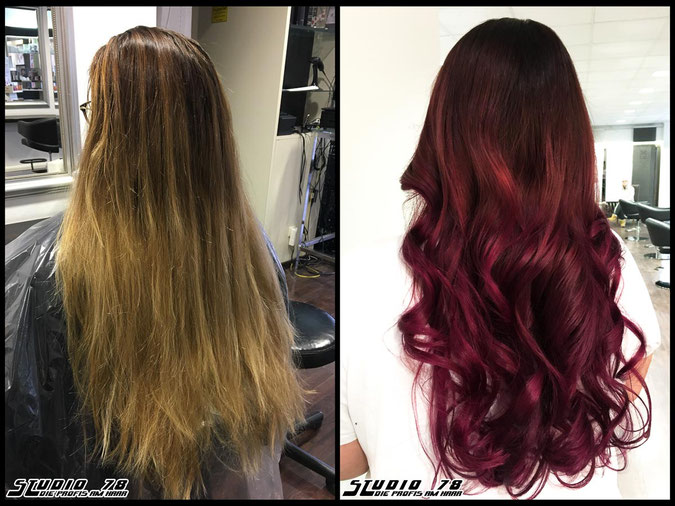 Coloration Haarfarbe rot raspberry himbeere red flame balayage flamebalayage haircolor coloration vorher nachher