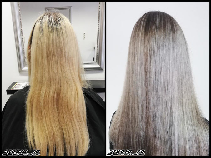 Coloration Haarfarbe reflective-silver-blonde coloration coloration vorher nachher