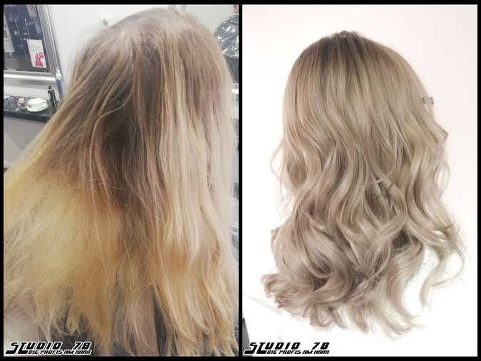 Coloration Haarfarbe beigeblond  nudeblonde beige blonde bright-blonde hellblond blond coloration vorher nachher