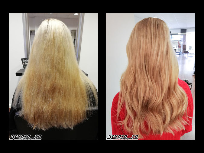 Coloration Haarfarbe florida blond blonde goldblond vorher nachher