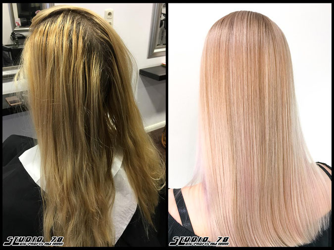 Coloration Haarfarbe pastel-rose-blonde pastell-coloration coloration vorher nachher