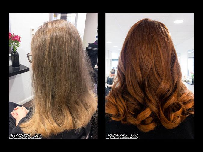 Coloration Haarfarbe copper kupfer rot vorher nachher