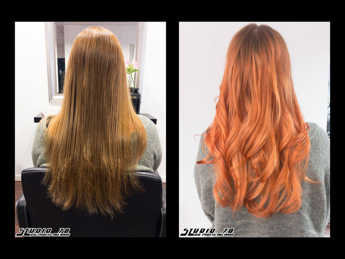 Coloration Haarfarbe copper kupfer rot peach apricot vorher nachher