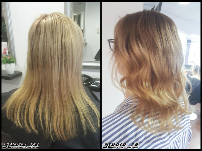 Coloration Haarfarbe  Blond Bronde Balayage coloration vorher nachher