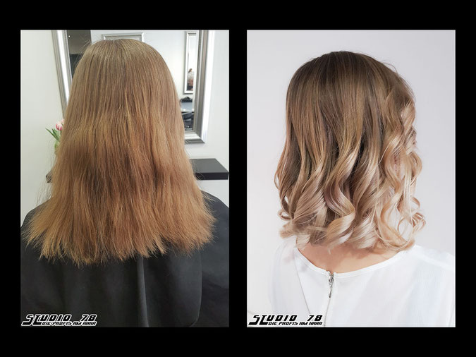 Coloration Haarfarbe nudeblonde  blonde blond balayage coloration vorher nachher