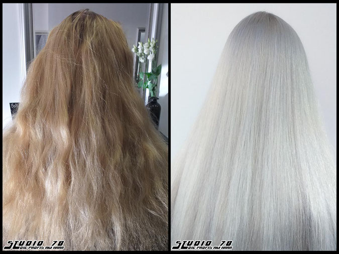 Coloration Haarfarbe blonde  nudeblonde whiteblonde bright-white-blonde hellblond eisblond blond coloration vorher nachher