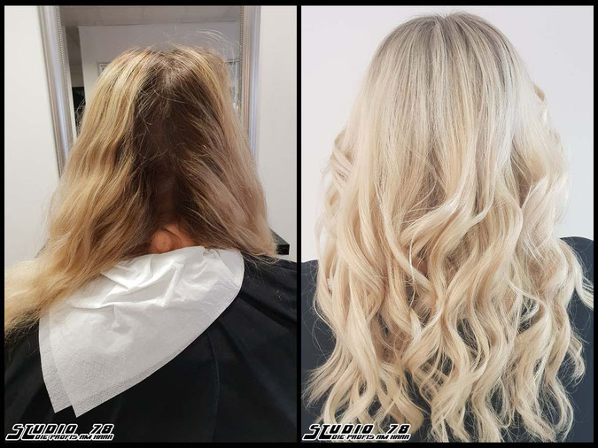 Coloration Haarfarbe platinblond  nudeblonde platinum blonde bright-blonde hellblond blond platinumblonde coloration vorher nachher