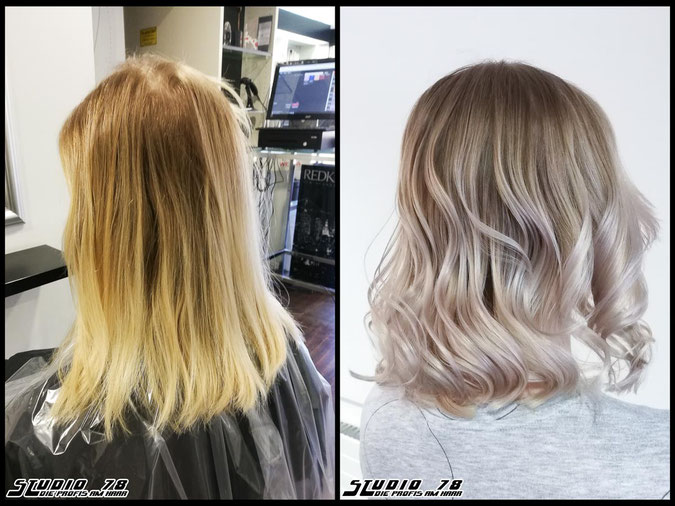 Coloration Haarfarbe perlblond  nudeblonde blonde bright-blonde hellblond blond pearlblonde coloration vorher nachher