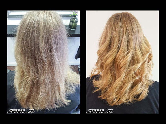 Coloration Haarfarbe blonde blond summerblonde sommerblond sommer california-dream-blonde vorher nachher