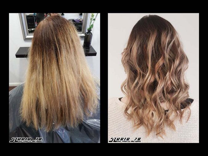 Coloration Haarfarbe blonde blond beigeblonde vorher nachher