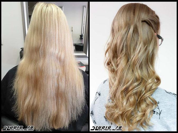 Coloration Haarfarbe nudeblonde  blonde blond coloration vorher nachher