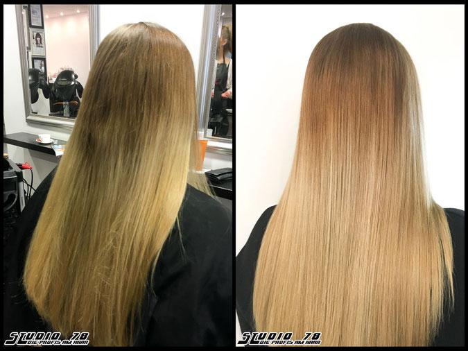 Coloration Haarfarbe sandblond beigeblond  nudeblonde beige sand blonde bright-blonde hellblond blond coloration vorher nachher