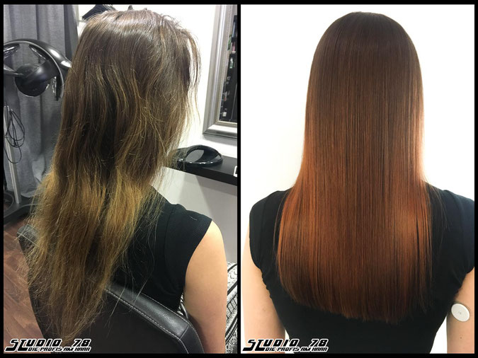 Coloration Haarfarbe  kupfer copper balayage coloration vorher nachher