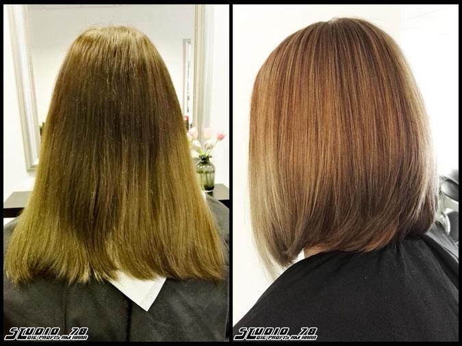 Coloration Haarfarbe typveraenderung blond bronde bob haarschnitt vorher nachher