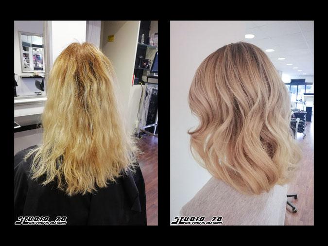 Coloration Haarfarbe nudebeige beige nude-beige-blonde blond beigeblonde vorher nachher