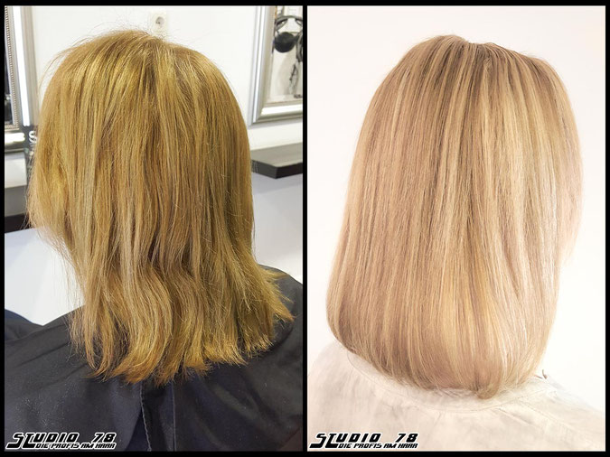 Coloration Haarfarbe mattblonde  blonde mattblond blond coloration vorher nachher