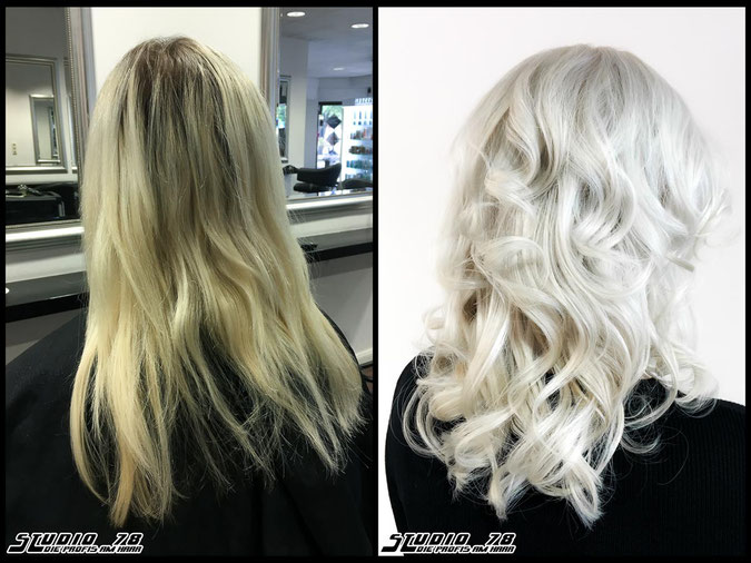 Coloration Haarfarbe blonde nudeblonde whiteblonde bright-white-blonde hellblond eisblond iceblonde blond coloration vorher nachher